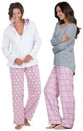 Models wearing World's Softest Flannel Pajama Set - Pink and Snuggle Fleece Hoodie Pajamas.