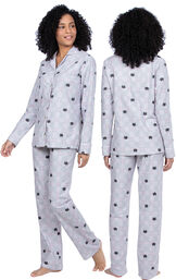 Model wearing Gray Cat Flannel Button-Front PJ for Women, facing away from the camera and then to the side image number 1