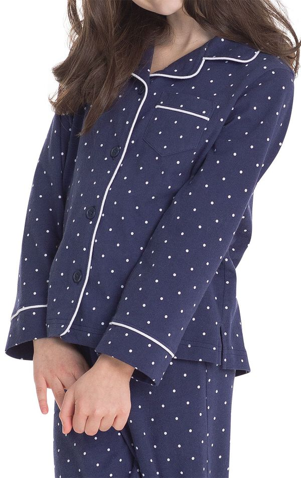 Close-up of Classic Polka-Dot Girls Pajamas cuffs, collar and chest pocket image number 3