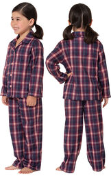 Model wearing Plum Plaid Button-Front PJ for Youth, facing away from the camera and then facing towards the side image number 1
