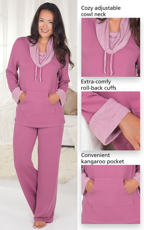 Close-Ups of Raspberry World's Softest PJs features which include a cozy adjustable cowl neck, extra-comfy, roll-back cuffs and a convenient kangaroo pocket. image number 3