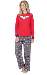 Model wearing Red and Blue Justice League PJ for Women