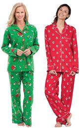 Models wearing Charlie Brown Christmas Pajamas and St. Nick Boyfriend Pajamas.