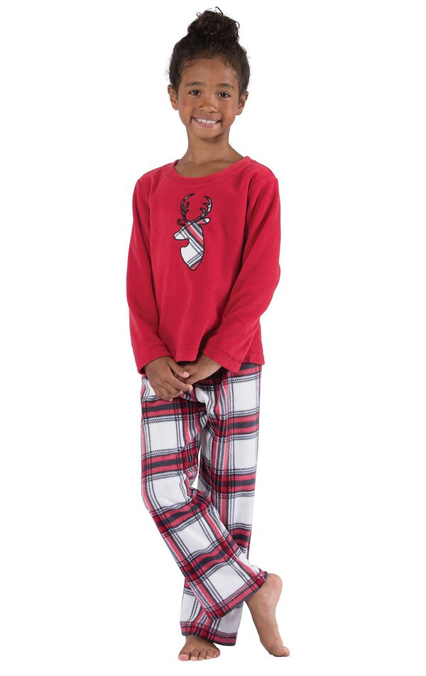 Model wearing Red and White Plaid Fleece PJ for Girls image number 0