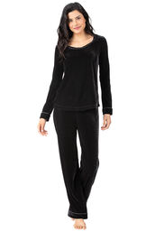 Model wearing Black Velour PJ with Satin Trim for Women image number 0