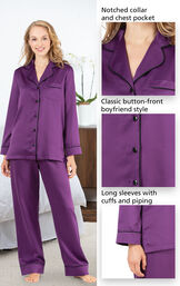 Close-ups of the features of Satin Pajamas with Piping which include a notched collar and chest pocket, classic button-front boyfriend style and long sleeves with cuffs and piping image number 3