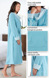 Close-ups of the features of World's Softest Nighty - Teal with the following copy: Cozy adjustable cowl neck, convenient kangaroo pocket, extra-comfy, roll-back cuffs image number 3