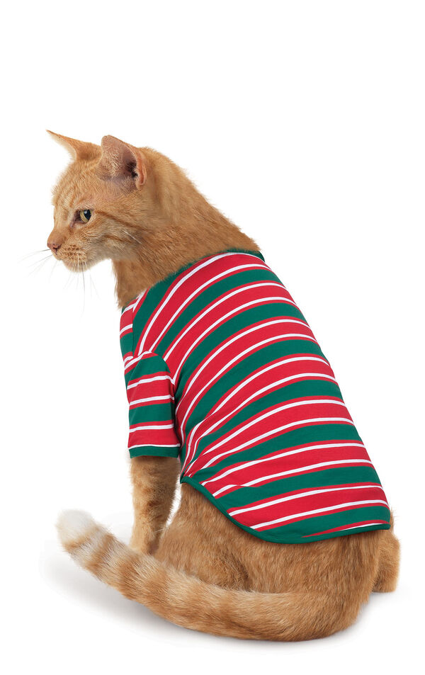 Model wearing Red and Green Christmas Stripe PJ for Cats image number 0