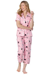 Model wearing Pink Kitty Print Short Sleeve Button-Front Capri PJ for Women image number 0