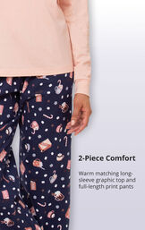 2-Piece comfort warm matching long-sleeve graphic top and full-length print pants image number 4