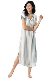 Model wearing Blue and White Stripe Margaritaville Gown for Women image number 0