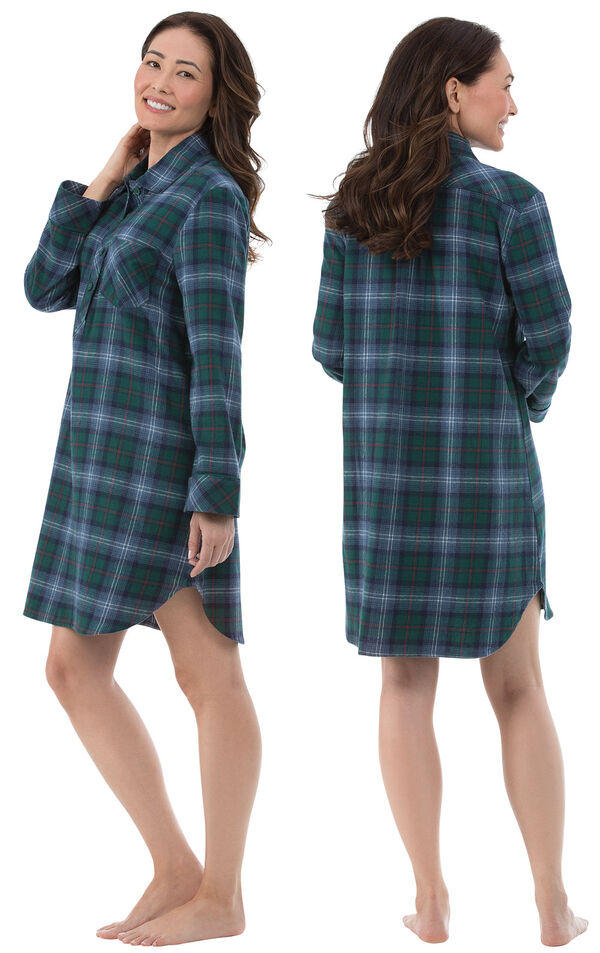 Model wearing Green and Blue Plaid Sleepshirt for Women, facing away from the camera and then to the side image number 1