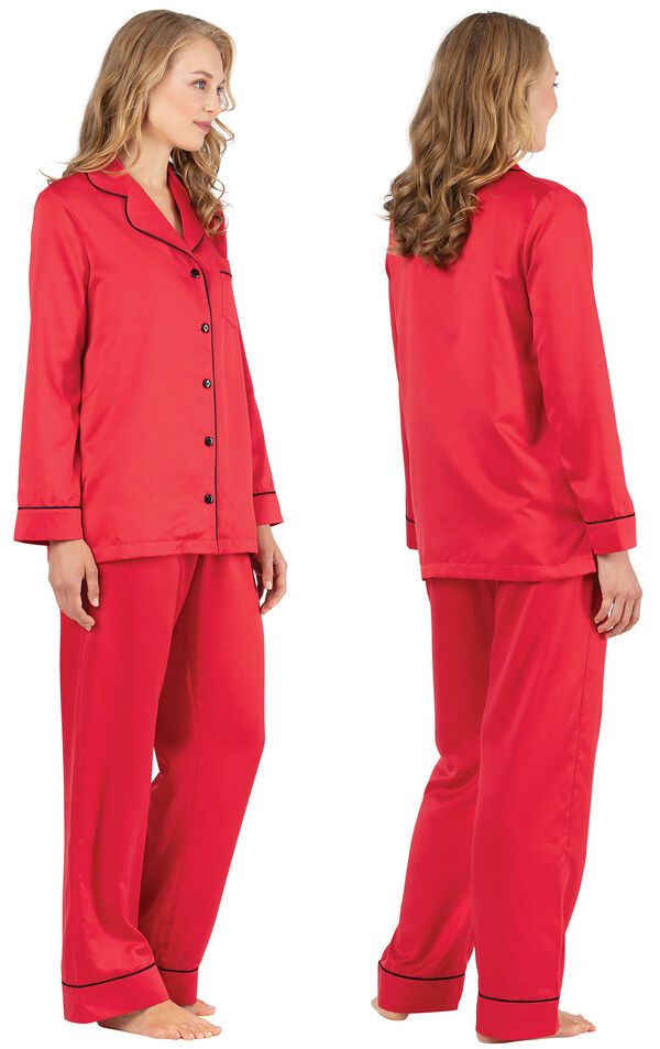 Model wearing Red Satin Button-Front PJ with Contrast Piping for Women, facing away from the camera and then to the side image number 1