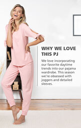 Model wearing Blush Pink Peekaboo Pajamas with the following copy: Why We Love This PJ: We love incorporating our favorite daytime trends into our pajama wardrobe. This season we're obsessed with joggers and detailed sleeves. image number 2