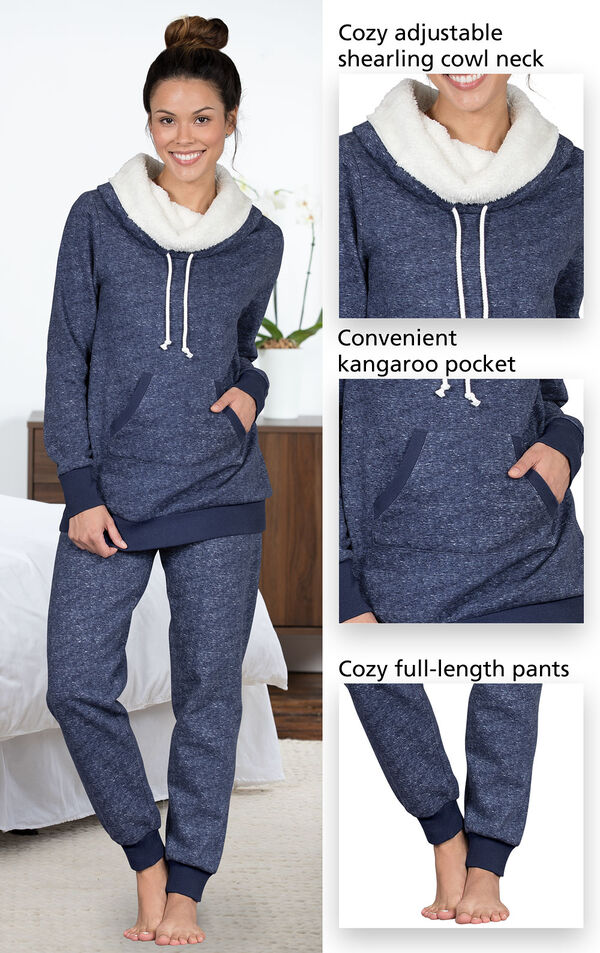 Close-ups of the features of Solstice Shearling Rollneck Pajamas which include a cozy adjustable shearling cowl neck, convenient kangaroo pocket and cozy full-length pants image number 3