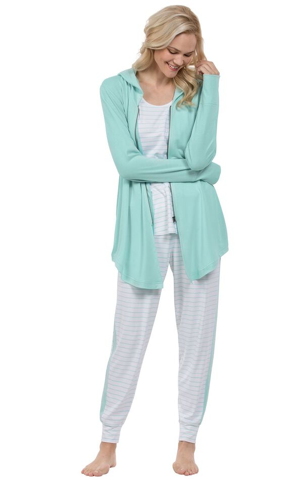 Model wearing Light Green Striped 3pc Pajama Set for Women image number 0