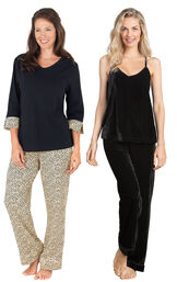 Models wearing Leopard Print Pajamas and Velour Cami Pajamas - Black.