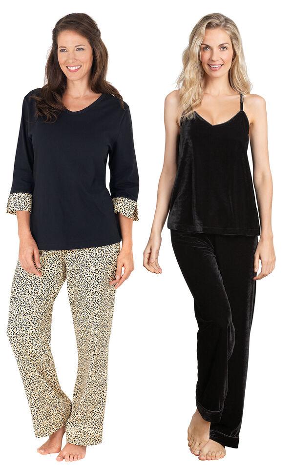 Models wearing Leopard Print Pajamas and Velour Cami Pajamas - Black. image number 0