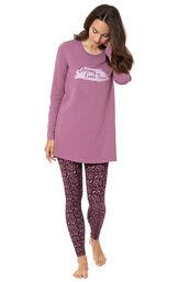 Model wearing Long Sleeve and Legging Pajamas - Plum Floral image number 0