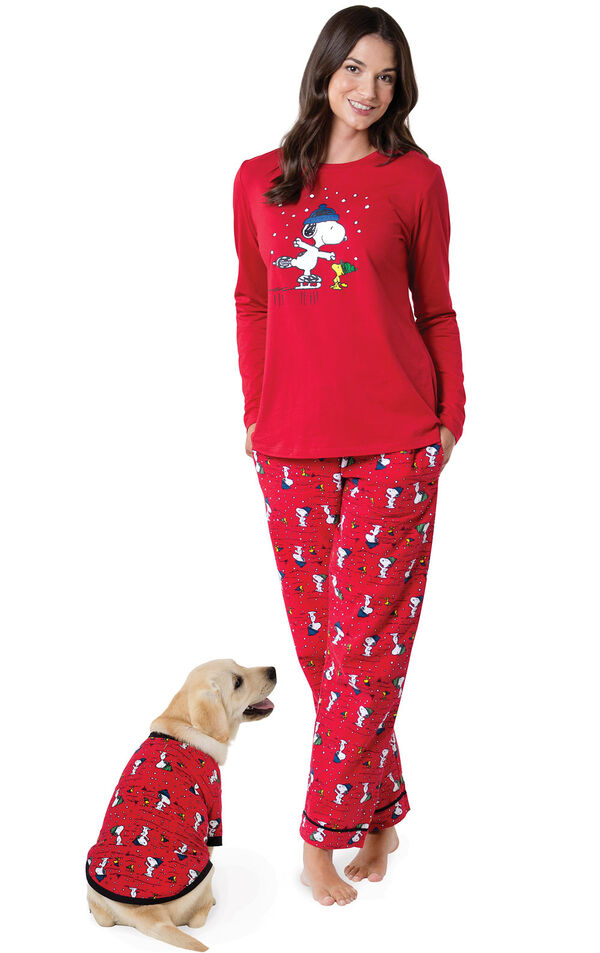 Models wearing Red Snoopy and Woodstock Matching Pajamas for Pet and Owner image number 0
