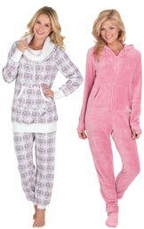 Models wearing Chalet Shearling Rollneck Pajamas and Hoodie-Footie - Pink.