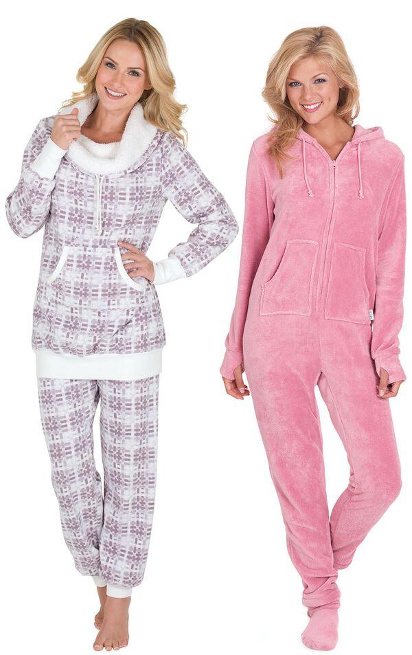 Models wearing Chalet Shearling Rollneck Pajamas and Hoodie-Footie - Pink. image number 0
