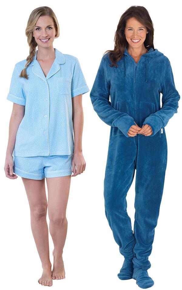 Models wearing Classic Polka-Dot Short Set - Blue and Hoodie-Footie - Blue. image number 0
