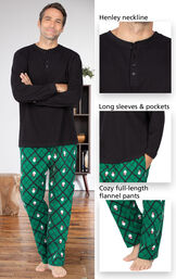 Black and Green Snowman Argyle Henley PJ for Men have a Henley neckline, long sleeves and pockets and cozy full-length flannel pants image number 3