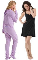 Sneak-a-Peek Hoodie-Footie and Black Naturally Nude Chemise image number 0