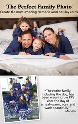 "Families wearing Snowfall Plaid matching family pajamas. Headline: The Perfect Family Photo - Create the most amazing memories and holiday cards. Customer quote: ""The entire family, including the dog, has been enjoying the PJs since the day of arrival"" image number 3"