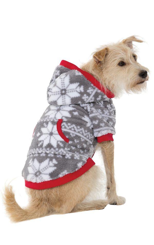 Model wearing Hoodie-Footie - Gray Fair Isle Fleece - Pet image number 0