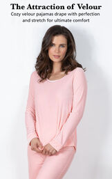 Model wearing Velour Long-Sleeve Pajamas - Pink with the following copy: The Attraction of Velour. Cozy velour pajamas drape with perfection and stretch for ultimate comfort image number 2
