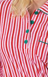 Candy Cane Stripe Fleece Gown has a notched collar and chest pocket image number 4