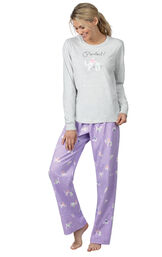 Model wearing Purple Cat Print PJ with Graphic Tee for Women image number 0