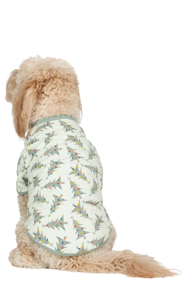 Model wearing Green Pine Tree PJ for Pets, facing away from the camera image number 1