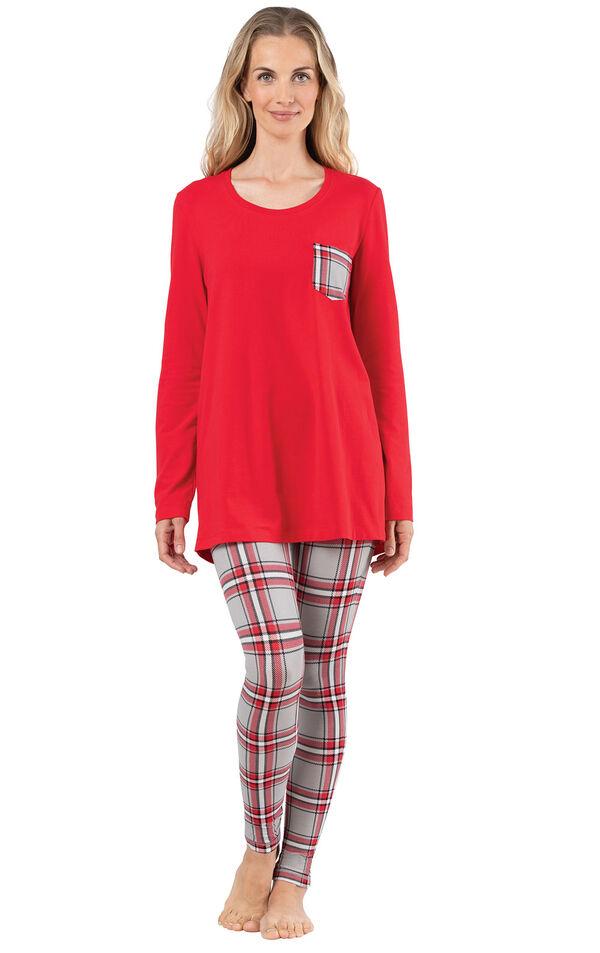 Model wearing Long Sleeve and Legging Pajamas - Red Plaid image number 0