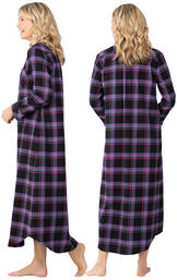 Model wearing Black and Purple Plaid Gown for Women, facing away from the camera and then to the side image number 1
