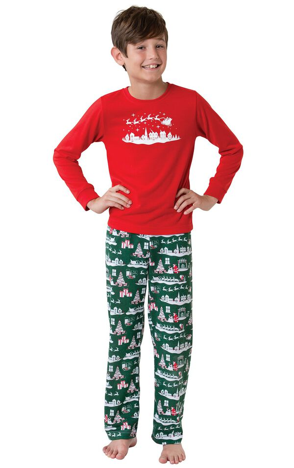 Model wearing Red and Green Night Before Christmas PJ for Kids image number 0