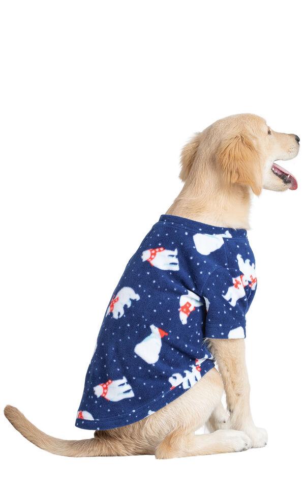 Model wearing Navy Polar Bear Fleece PJ - Pet image number 0
