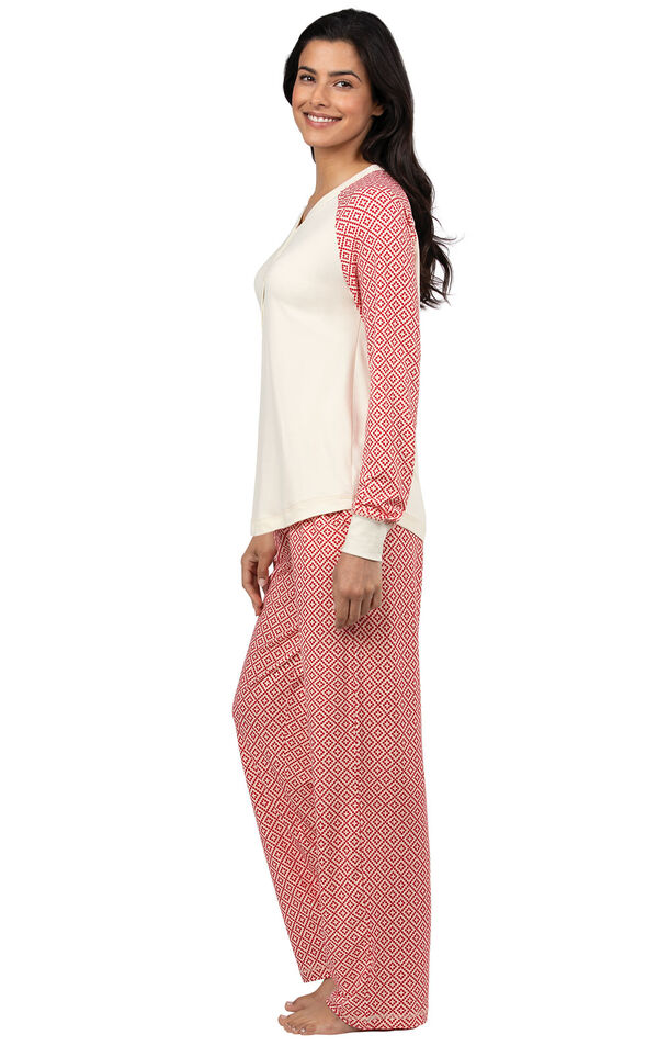 Model wearing Whisper Knit Henley Pajamas - Red Print, facing to the side image number 2