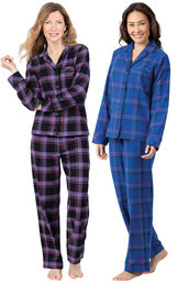 Models wearing Blackberry Plaid Boyfriend Flannel Pajamas and Indigo Plaid Flannel Boyfriend Pajamas. image number 0