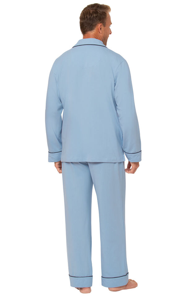 Model wearing Light Blue Button-Front PJ for Men, facing away from the camera image number 1