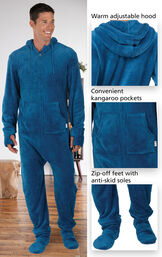 Close-ups of the features of Hoodie Footie™ for Men - Blue which include a warm adjustable hood, convenient kangaroo pockets and zip-off feet with anti-skid soles image number 2
