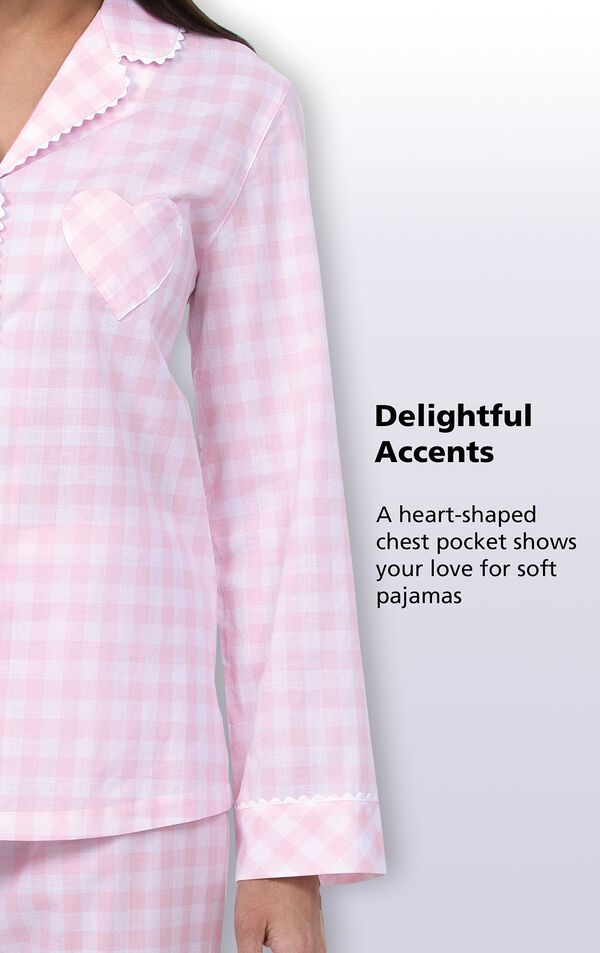 Delightful Accents - A heart-shaped chest pocket shows your love for soft pajamas image number 2