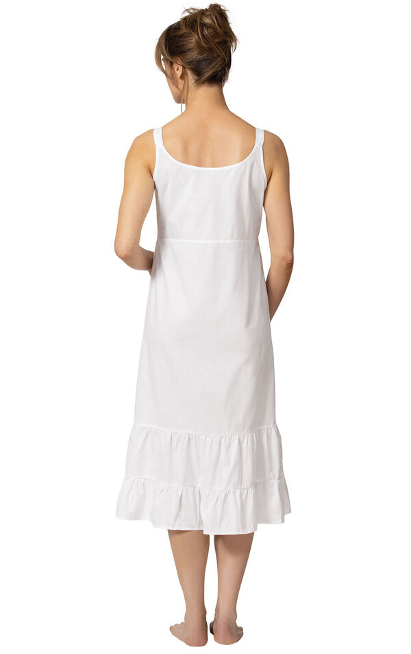 Model wearing Ruby Nightgown in White for Women, facing away from the camera image number 1