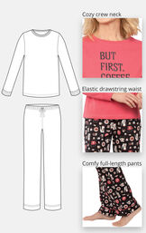 Close-ups of the features of Coffee Lover PJs which include a cozy crew neck, elastic drawstring waist and full-length pants image number 3