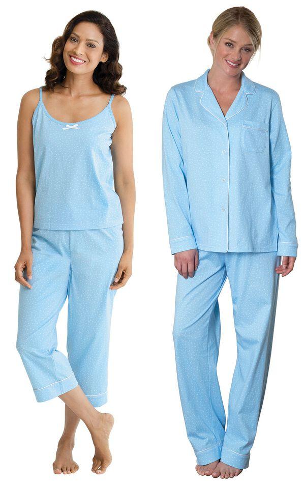 Models wearing Classic Polka-Dot Capri Pajamas - Blue and Classic Polka-Dot Boyfriend Pajamas - Blue. image number 0