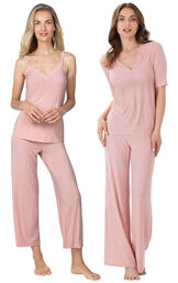 Models wearing Naturally Nude Capri Pajamas - Pink and Naturally Nude Pajamas - Pink.
