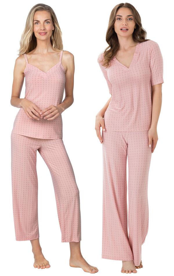 Models wearing Naturally Nude Capri Pajamas - Pink and Naturally Nude Pajamas - Pink. image number 0