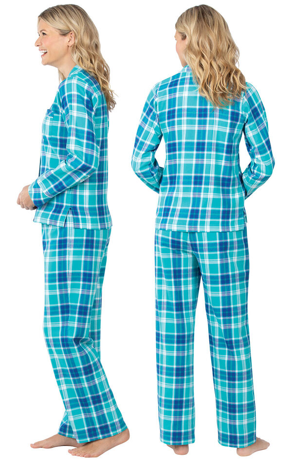 Model wearing Green and Blue Bright Plaid Button-Front PJ for Women, facing away from the camera and then to the side image number 1